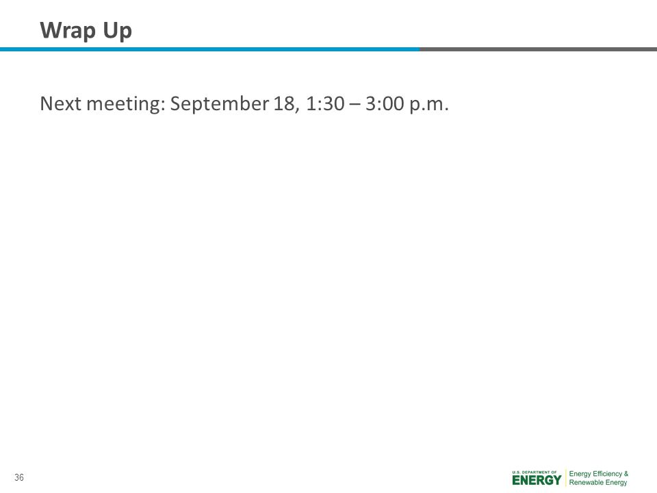 36 Wrap Up Next meeting: September 18, 1:30 – 3:00 p.m.