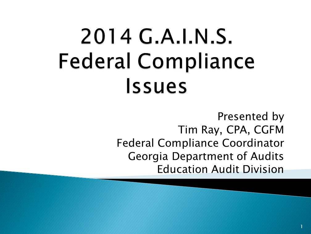 Presented by Tim Ray, CPA, CGFM Federal Compliance Coordinator Georgia Department of Audits Education Audit Division 1