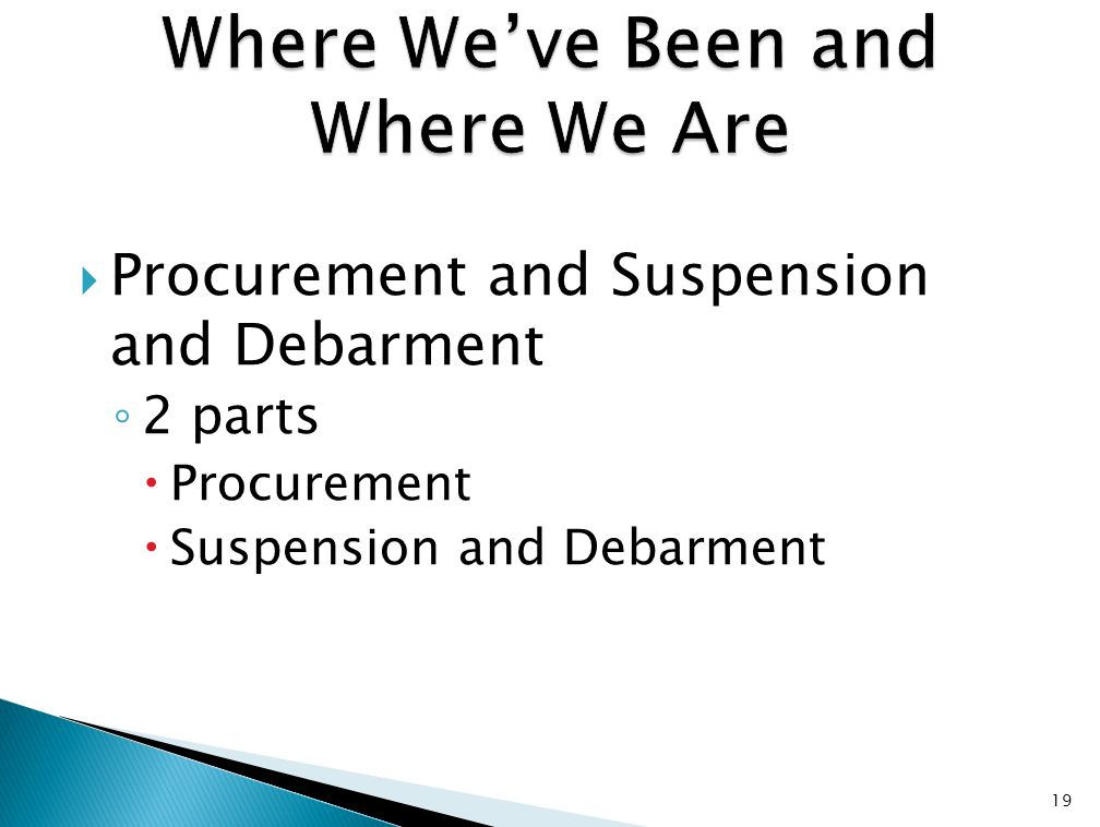  Procurement and Suspension and Debarment ◦ 2 parts  Procurement  Suspension and Debarment 19