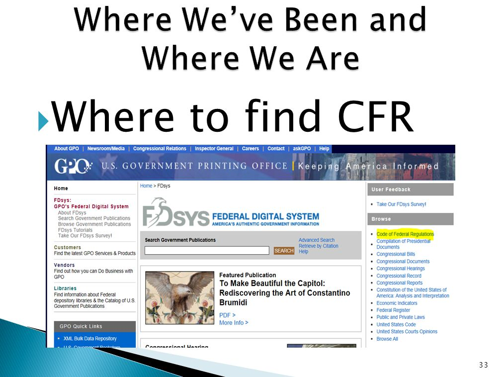  Where to find CFR 33