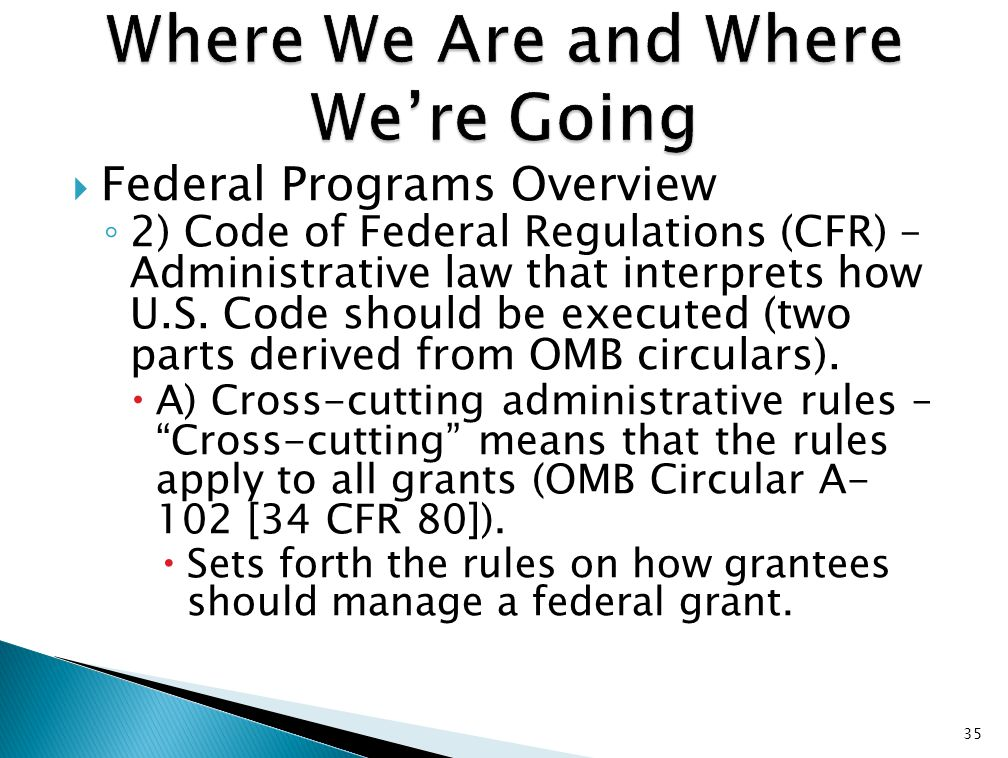  Federal Programs Overview ◦ 2) Code of Federal Regulations (CFR) – Administrative law that interprets how U.S. Code should be executed (two parts de