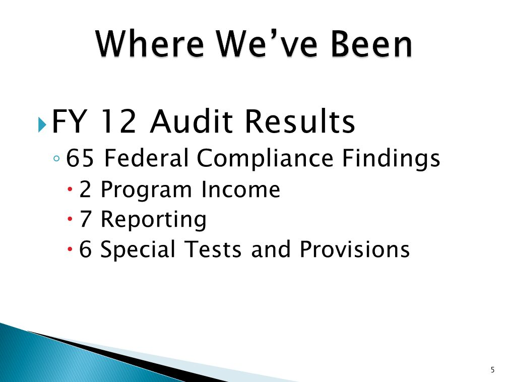  FY 12 Audit Results ◦ 65 Federal Compliance Findings  2 Program Income  7 Reporting  6 Special Tests and Provisions 5