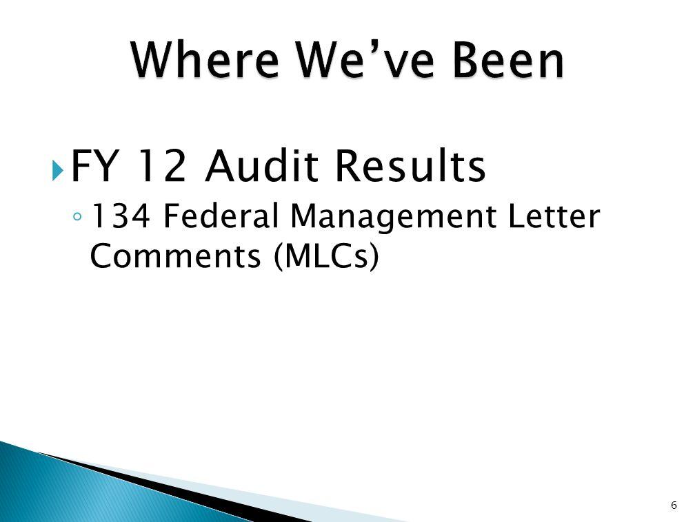  FY 12 Audit Results ◦ 134 Federal Management Letter Comments (MLCs) 6