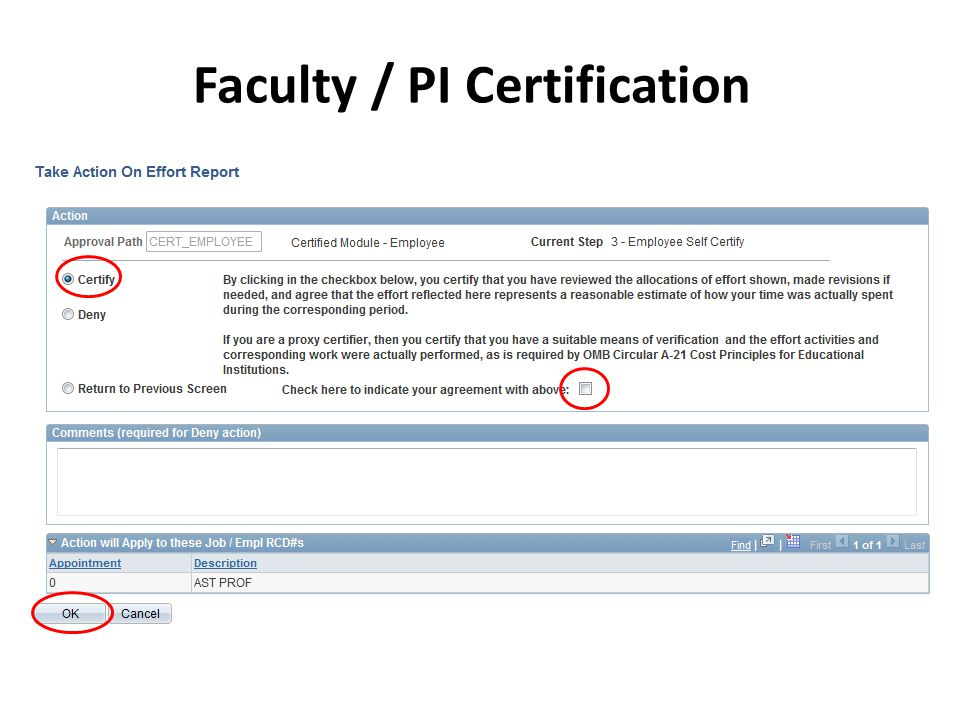 Faculty / PI Certification