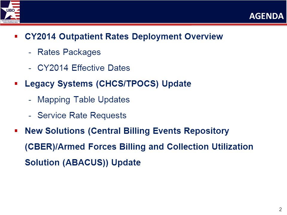  CY2014 Outpatient Rates Deployment Overview -Rates Packages -CY2014 Effective Dates  Legacy Systems (CHCS/TPOCS) Update -Mapping Table Updates -Service Rate Requests  New Solutions (Central Billing Events Repository (CBER)/Armed Forces Billing and Collection Utilization Solution (ABACUS)) Update AGENDA 2