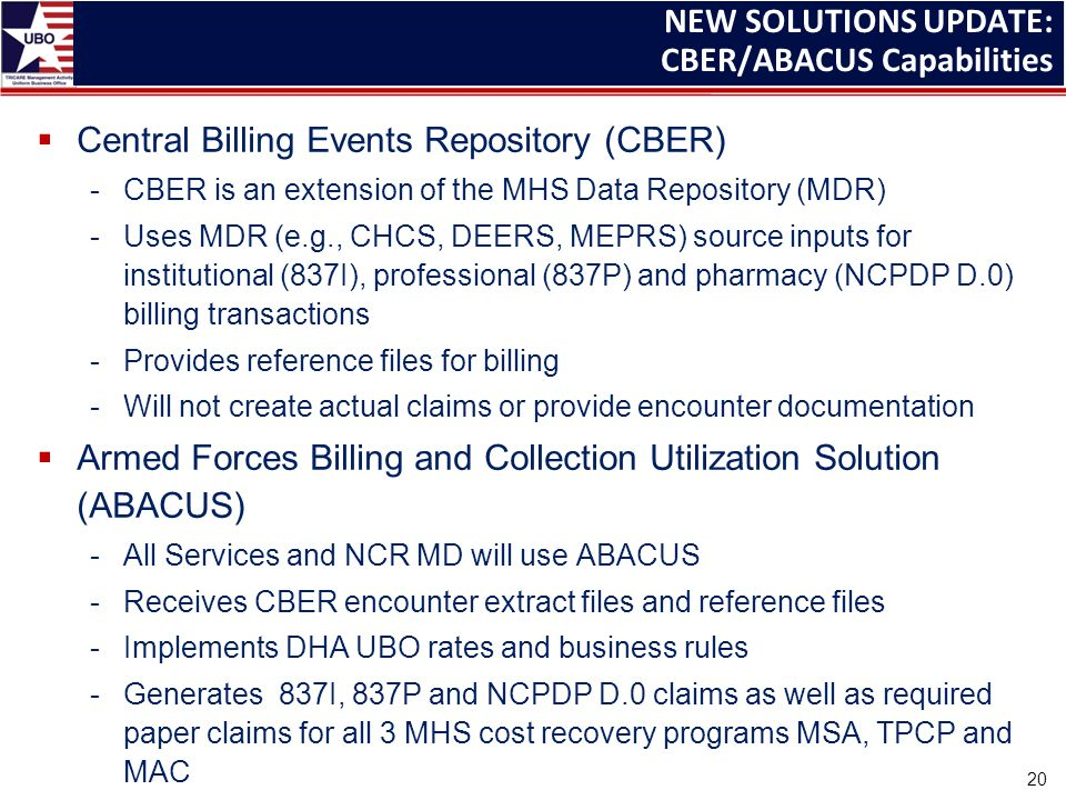  Central Billing Events Repository (CBER) -CBER is an extension of the MHS Data Repository (MDR) -Uses MDR (e.g., CHCS, DEERS, MEPRS) source inputs for institutional (837I), professional (837P) and pharmacy (NCPDP D.0) billing transactions -Provides reference files for billing -Will not create actual claims or provide encounter documentation  Armed Forces Billing and Collection Utilization Solution (ABACUS) -All Services and NCR MD will use ABACUS -Receives CBER encounter extract files and reference files -Implements DHA UBO rates and business rules -Generates 837I, 837P and NCPDP D.0 claims as well as required paper claims for all 3 MHS cost recovery programs MSA, TPCP and MAC NEW SOLUTIONS UPDATE: CBER/ABACUS Capabilities 20