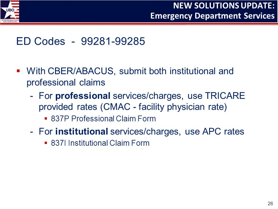 ED Codes - 99281-99285  With CBER/ABACUS, submit both institutional and professional claims -For professional services/charges, use TRICARE provided rates (CMAC - facility physician rate)  837P Professional Claim Form -For institutional services/charges, use APC rates  837I Institutional Claim Form NEW SOLUTIONS UPDATE: Emergency Department Services 26