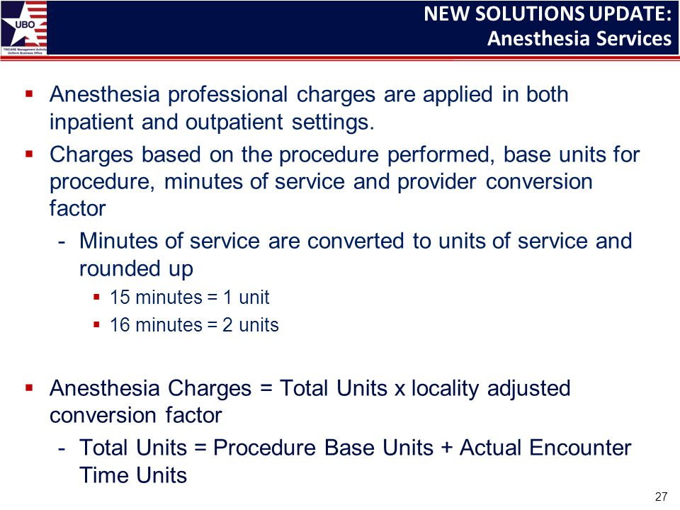  Anesthesia professional charges are applied in both inpatient and outpatient settings.