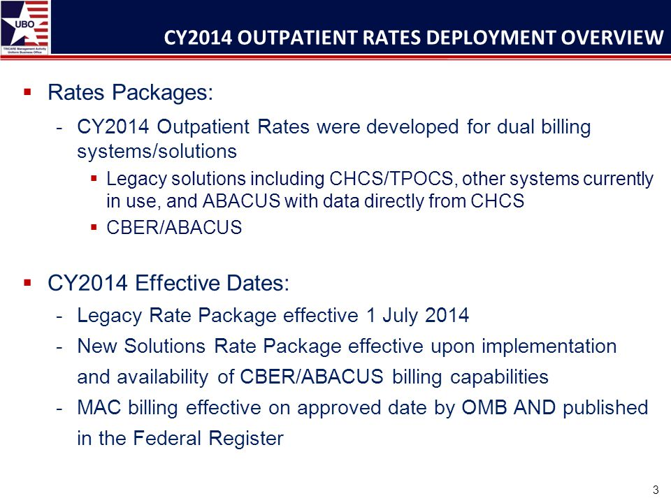  Rates Packages: -CY2014 Outpatient Rates were developed for dual billing systems/solutions  Legacy solutions including CHCS/TPOCS, other systems currently in use, and ABACUS with data directly from CHCS  CBER/ABACUS  CY2014 Effective Dates: -Legacy Rate Package effective 1 July 2014 -New Solutions Rate Package effective upon implementation and availability of CBER/ABACUS billing capabilities -MAC billing effective on approved date by OMB AND published in the Federal Register CY2014 OUTPATIENT RATES DEPLOYMENT OVERVIEW 3