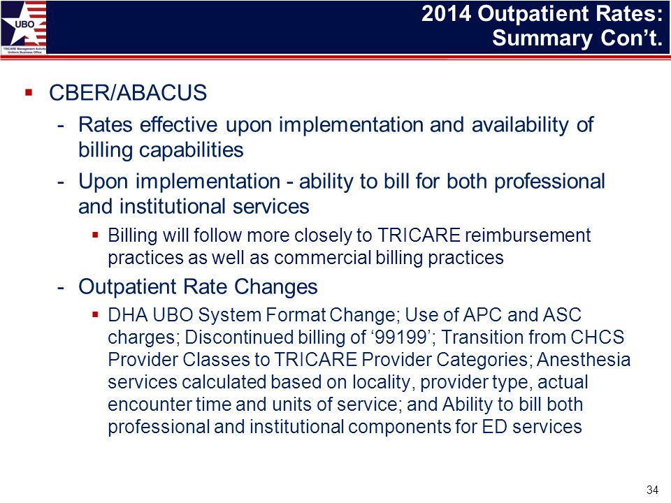 CBER/ABACUS -Rates effective upon implementation and availability of billing capabilities -Upon implementation - ability to bill for both professional and institutional services  Billing will follow more closely to TRICARE reimbursement practices as well as commercial billing practices -Outpatient Rate Changes  DHA UBO System Format Change; Use of APC and ASC charges; Discontinued billing of '99199'; Transition from CHCS Provider Classes to TRICARE Provider Categories; Anesthesia services calculated based on locality, provider type, actual encounter time and units of service; and Ability to bill both professional and institutional components for ED services 2014 Outpatient Rates: Summary Con't.