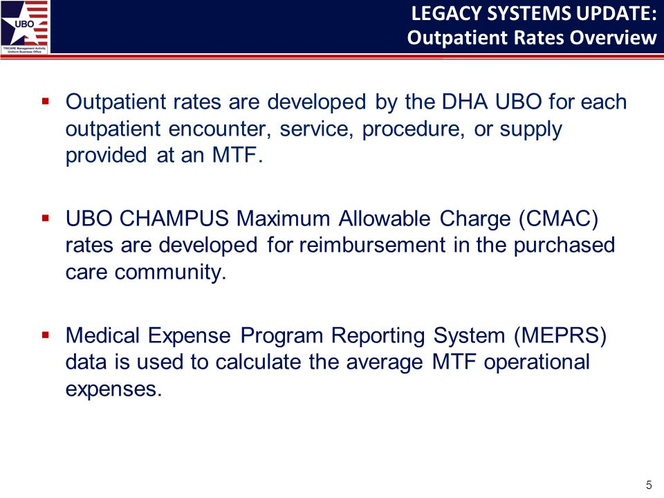  Outpatient rates are developed by the DHA UBO for each outpatient encounter, service, procedure, or supply provided at an MTF.