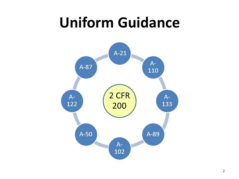 Uniform Guidance 2 CFR 200 A-21 A- 110 A- 133 A-89 A- 102 A-50 A- 122 A-87 2