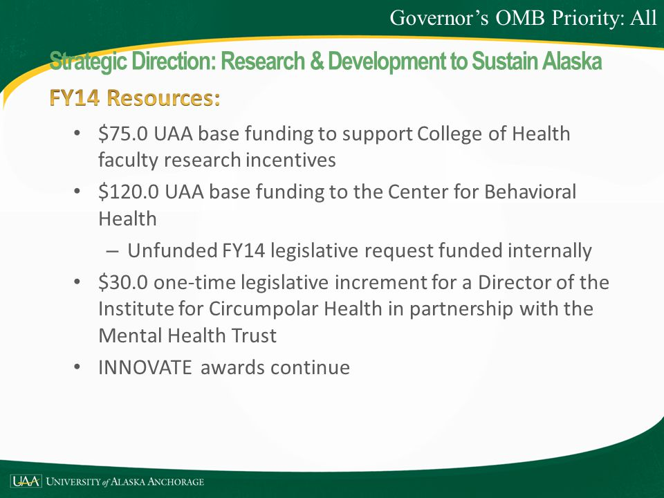 $75.0 UAA base funding to support College of Health faculty research incentives $120.0 UAA base funding to the Center for Behavioral Health – Unfunded FY14 legislative request funded internally $30.0 one-time legislative increment for a Director of the Institute for Circumpolar Health in partnership with the Mental Health Trust INNOVATE awards continue Governor's OMB Priority: All Strategic Direction: Research & Development to Sustain Alaska