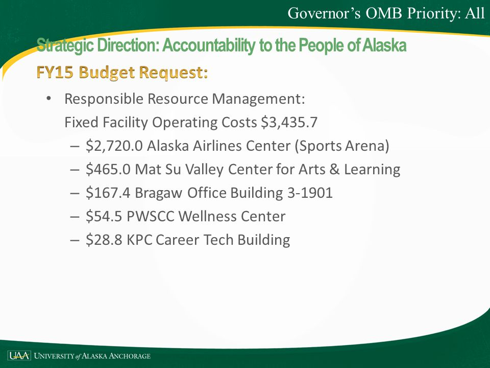 Responsible Resource Management: Fixed Facility Operating Costs $3,435.7 – $2,720.0 Alaska Airlines Center (Sports Arena) – $465.0 Mat Su Valley Center for Arts & Learning – $167.4 Bragaw Office Building 3-1901 – $54.5 PWSCC Wellness Center – $28.8 KPC Career Tech Building Governor's OMB Priority: All Strategic Direction: Accountability to the People of Alaska
