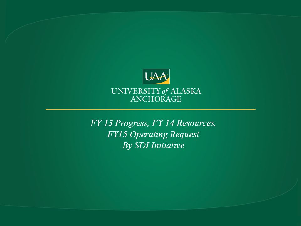 FY 13 Progress, FY 14 Resources, FY15 Operating Request By SDI Initiative