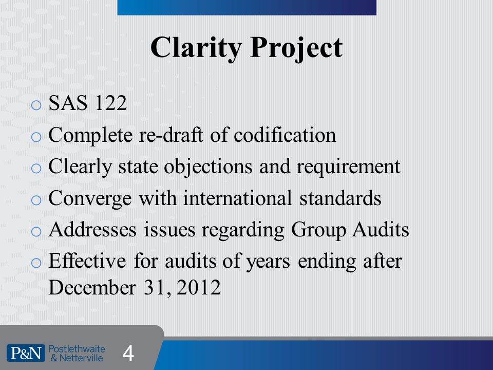 Clarity Project Goals o Address concerns over length and complexity of standards o Make standards easier to read, understand and implement o Lead to enhancements in audit quality 5