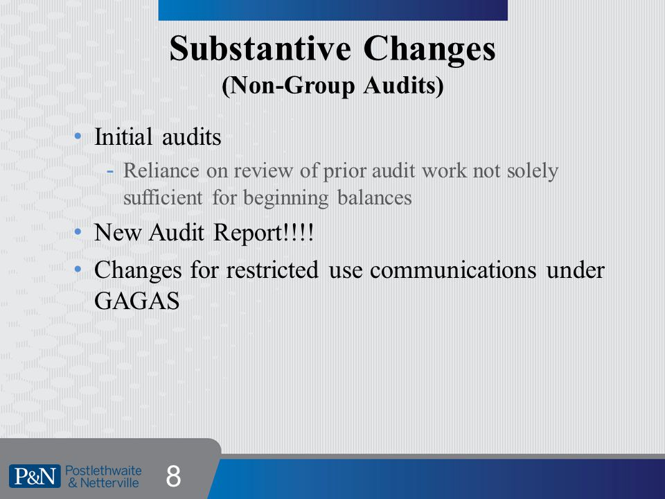 Restriction on Auditor Communication o Old Wording o New Wording 9 The purpose of this [report, letter,….solely to [describe the purpose of the auditor s written communication, such as to describe the scope of our testing of internal control over financial reporting and compliance, and the result of that testing, and not to provide an opinion on the effectiveness of the entity s internal control over financial reporting or on compliance ].