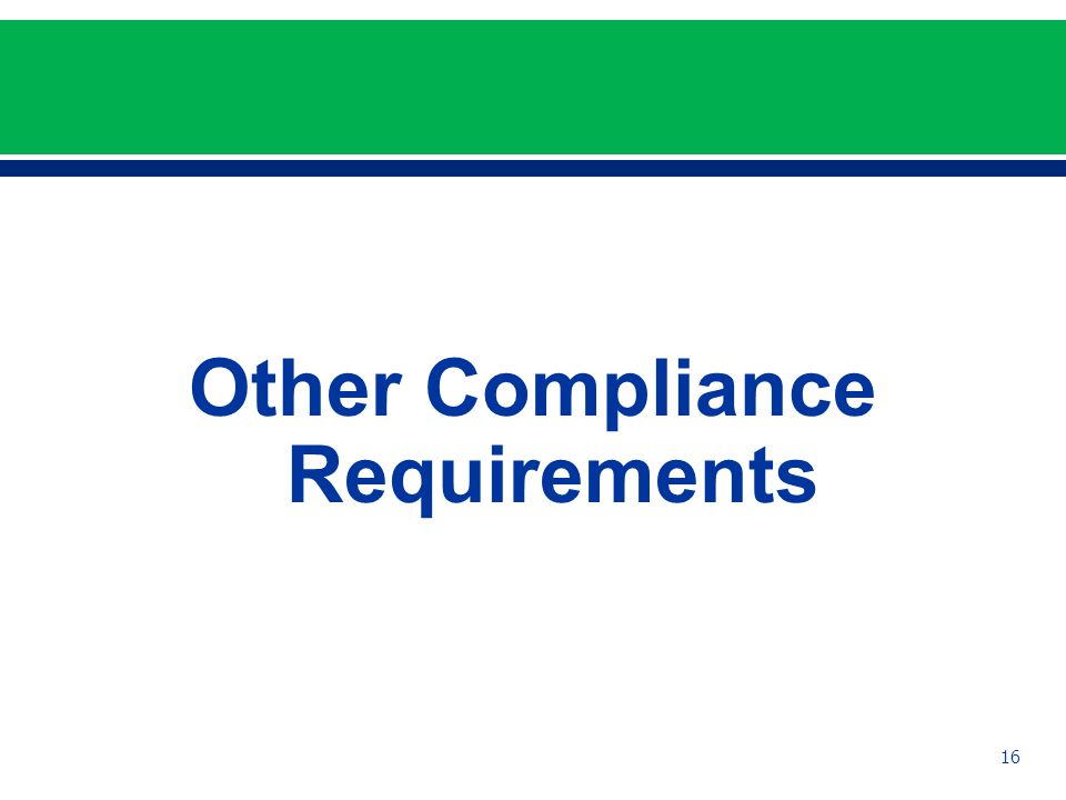 Other Compliance Requirements 16