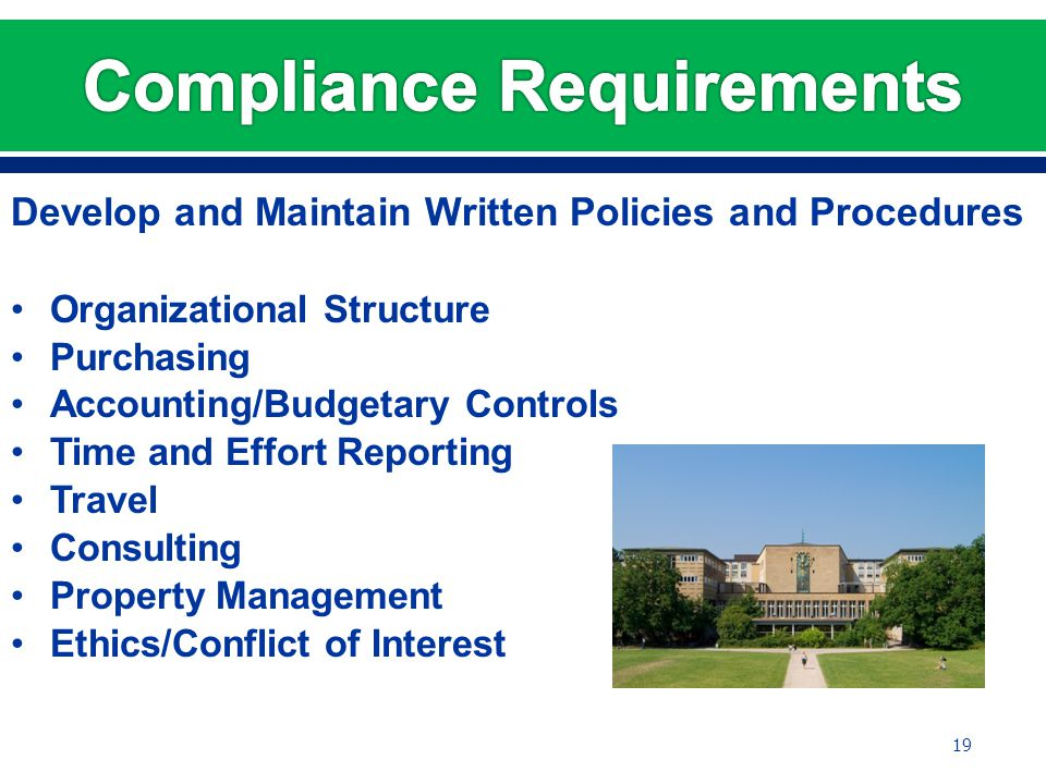 Develop and Maintain Written Policies and Procedures Organizational Structure Purchasing Accounting/Budgetary Controls Time and Effort Reporting Travel Consulting Property Management Ethics/Conflict of Interest 19