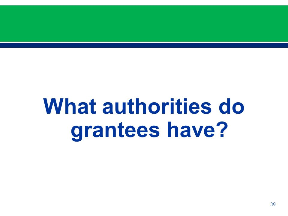 What authorities do grantees have 39