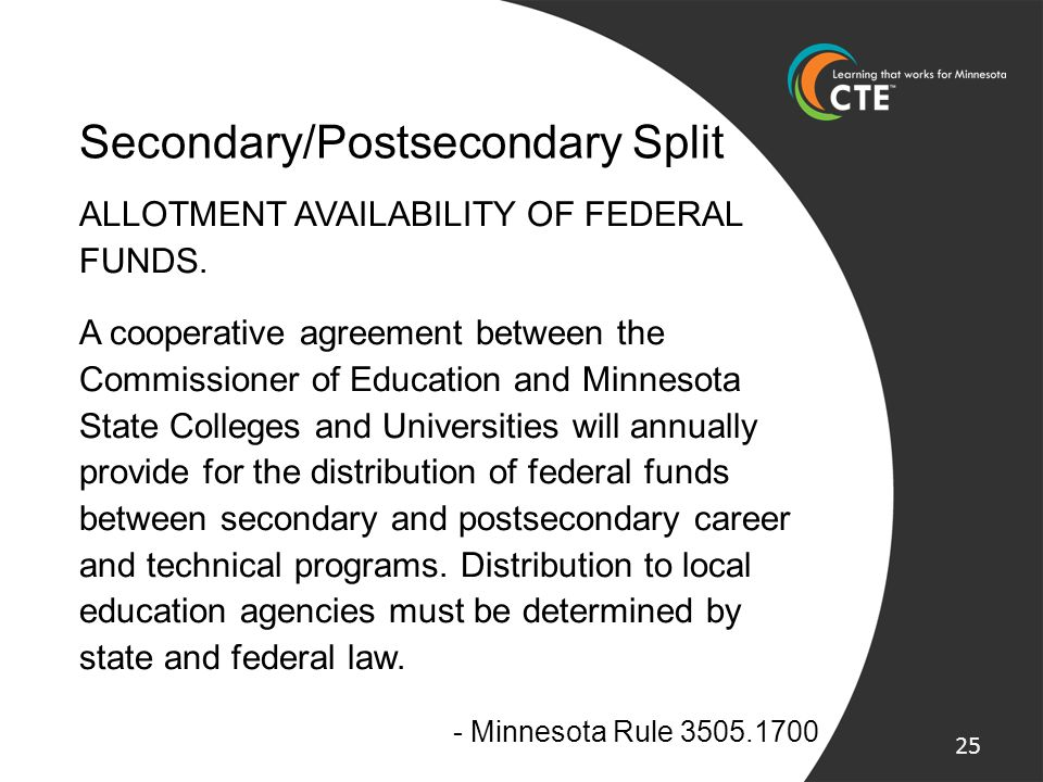 Secondary/Postsecondary Split ALLOTMENT AVAILABILITY OF FEDERAL FUNDS. A cooperative agreement between the Commissioner of Education and Minnesota Sta