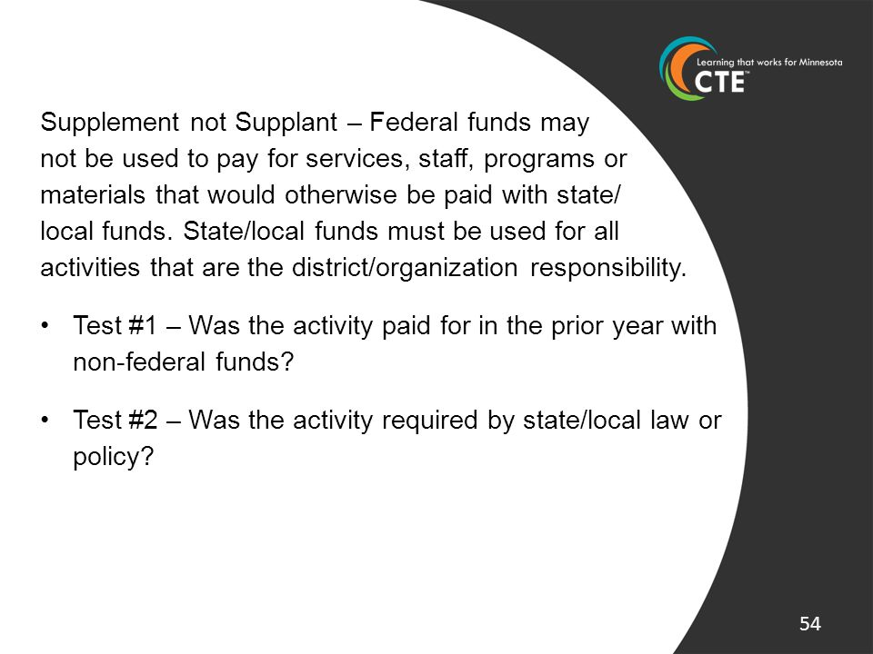Supplement not Supplant – Federal funds may not be used to pay for services, staff, programs or materials that would otherwise be paid with state/ loc
