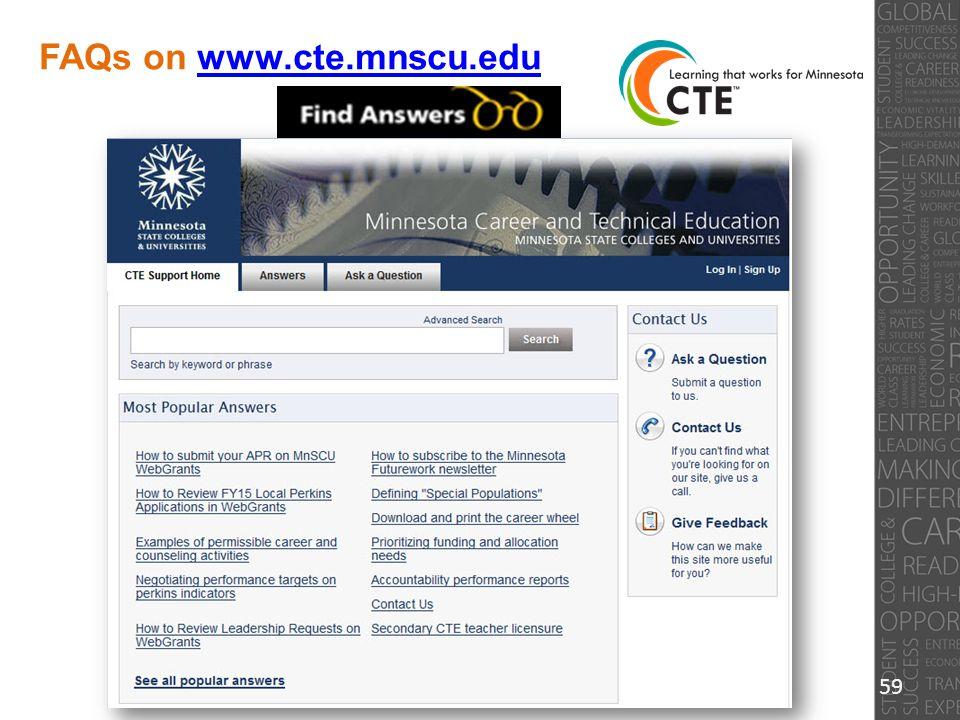 FAQs on www.cte.mnscu.eduwww.cte.mnscu.edu 59