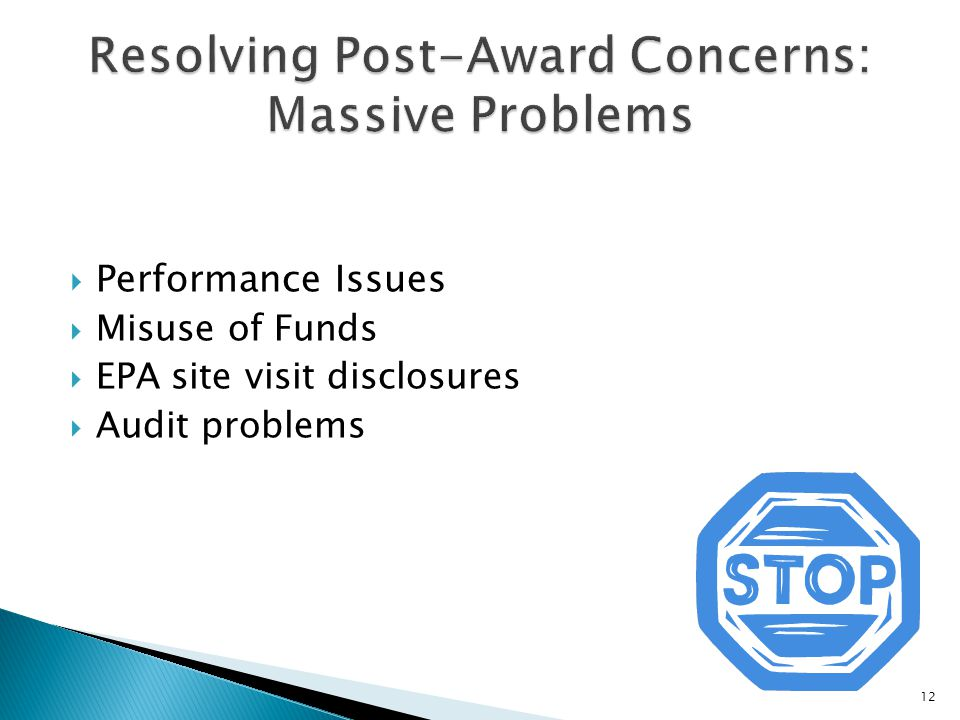  Performance Issues  Misuse of Funds  EPA site visit disclosures  Audit problems 12