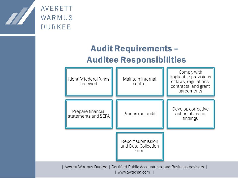 | Averett Warmus Durkee | Certified Public Accountants and Business Advisors | | www.awd-cpa.com | Identify federal funds received Maintain internal control Comply with applicable provisions of laws, regulations, contracts, and grant agreements Prepare financial statements and SEFA Procure an audit Develop corrective action plans for findings Report submission and Data Collection Form