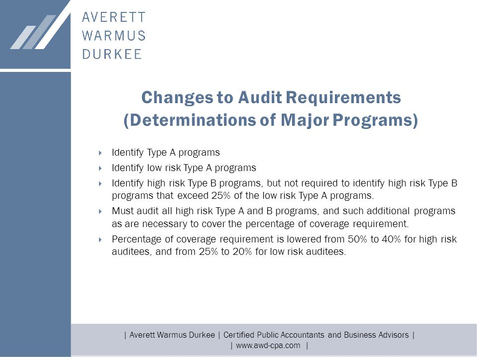 | Averett Warmus Durkee | Certified Public Accountants and Business Advisors | | www.awd-cpa.com |  Identify Type A programs  Identify low risk Type