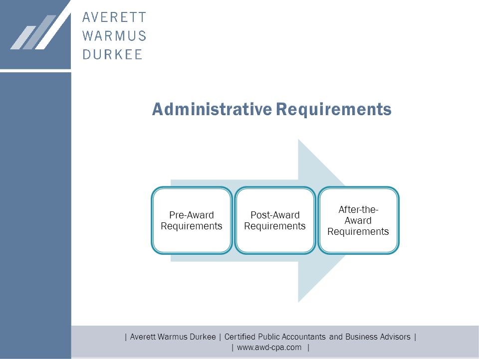 | Averett Warmus Durkee | Certified Public Accountants and Business Advisors | | www.awd-cpa.com | Pre-Award Requirements Post-Award Requirements Afte