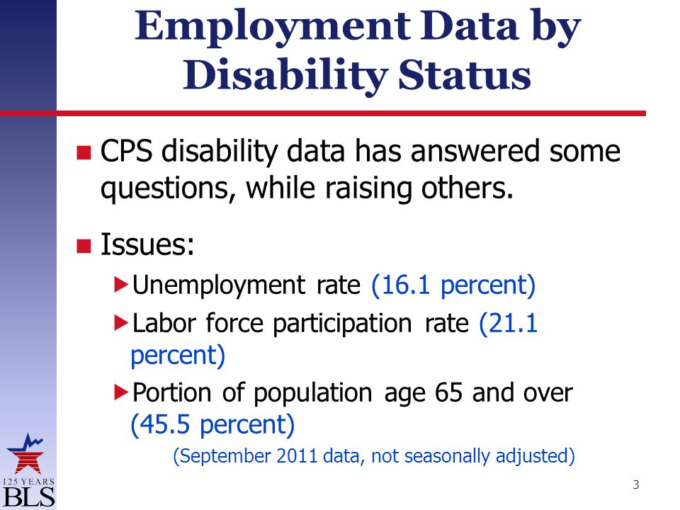 Employment Data by Disability Status CPS disability data has answered some questions, while raising others. Issues:  Unemployment rate (16.1 percent)