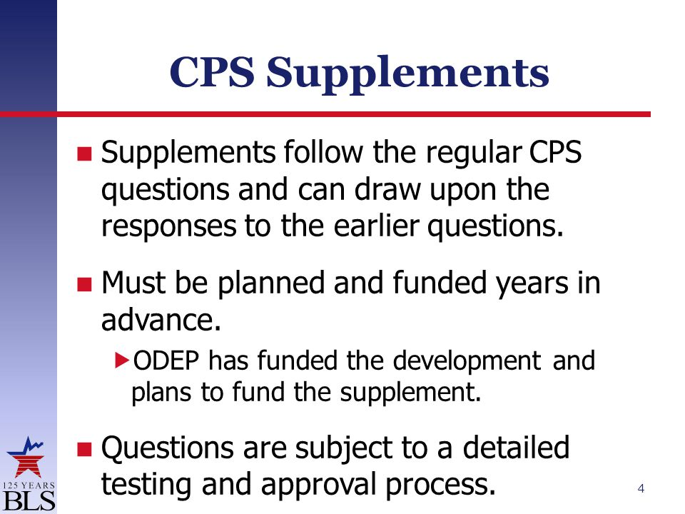CPS Supplements Supplements follow the regular CPS questions and can draw upon the responses to the earlier questions.