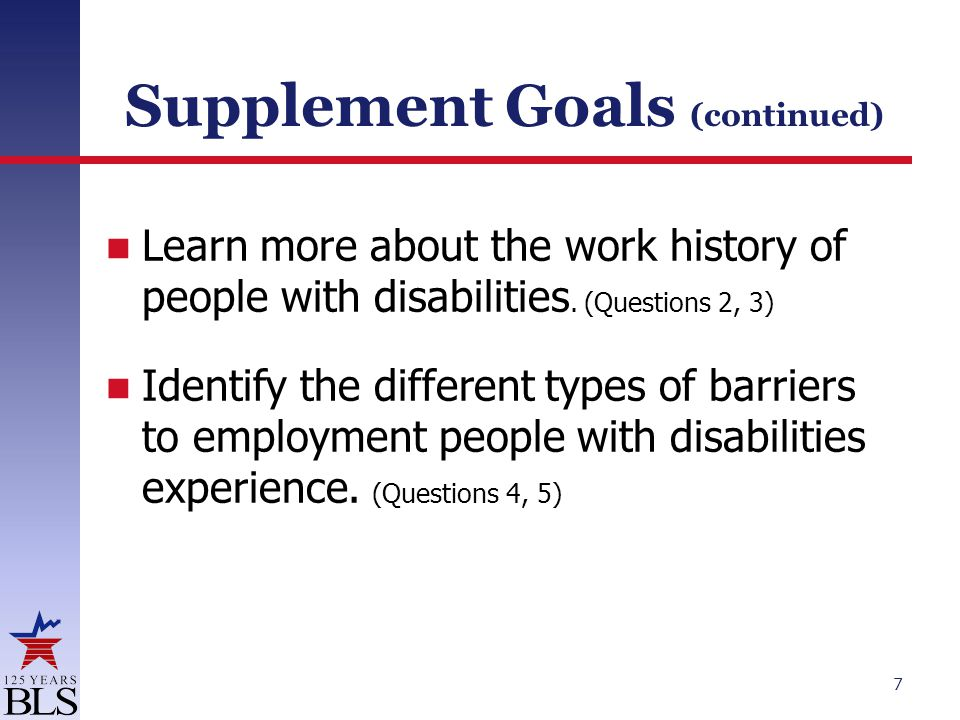 Supplement Goals (continued) Learn more about the work history of people with disabilities.