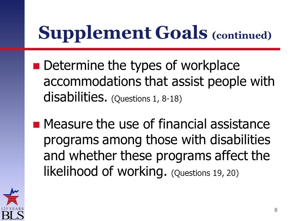 Supplement Goals (continued) Determine the types of workplace accommodations that assist people with disabilities.