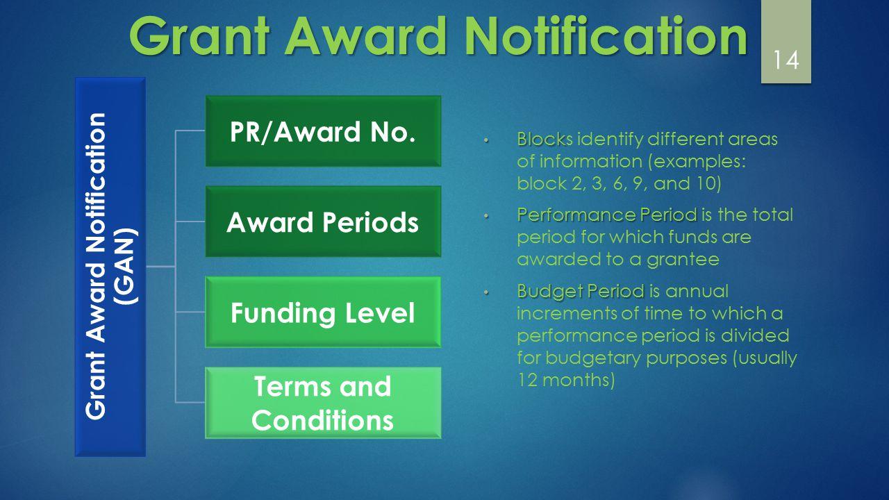 14 Grant Award Notification (GAN) PR/Award No.