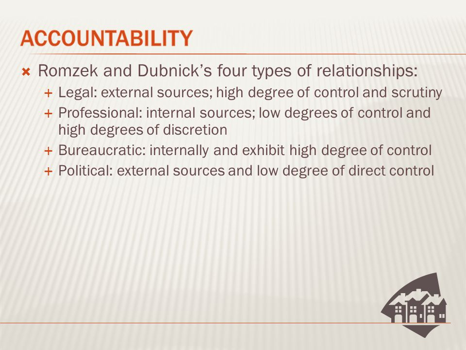  Romzek and Dubnick's four types of relationships:  Legal: external sources; high degree of control and scrutiny  Professional: internal sources; low degrees of control and high degrees of discretion  Bureaucratic: internally and exhibit high degree of control  Political: external sources and low degree of direct control