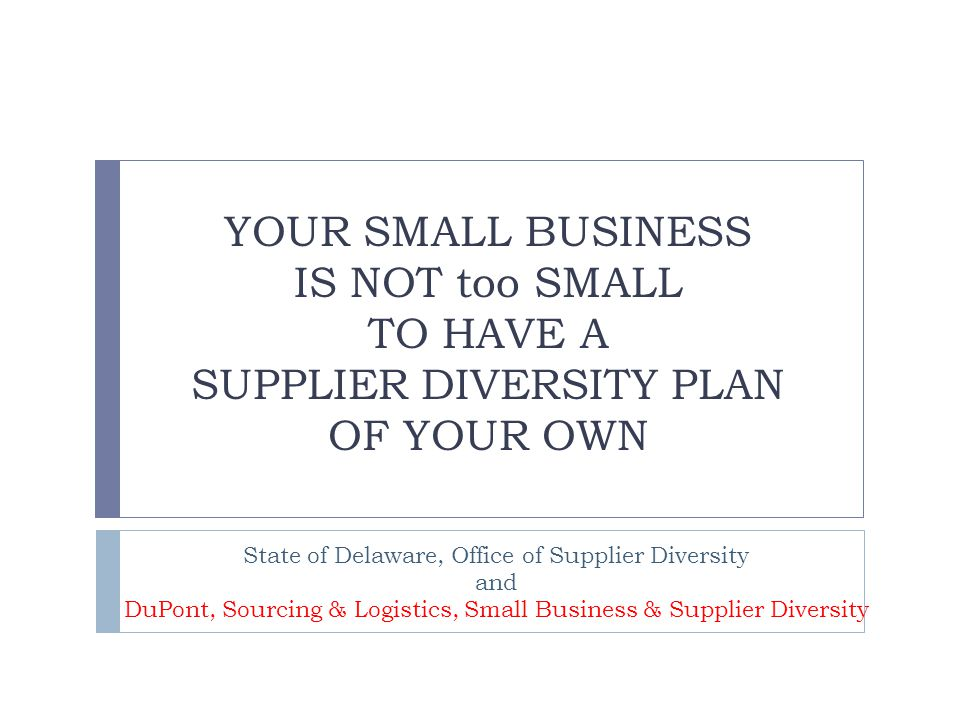 YOUR SMALL BUSINESS IS NOT too SMALL TO HAVE A SUPPLIER DIVERSITY PLAN OF YOUR OWN State of Delaware, Office of Supplier Diversity and DuPont, Sourcing & Logistics, Small Business & Supplier Diversity
