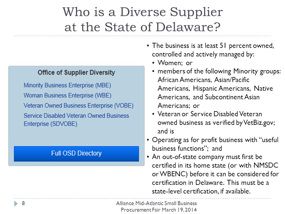 Contact Us Loren Hopkins Taylor Sourcing Manager, Small Business / Supplier Diversity DuPont Sourcing & Logistics CRP735/1315-3 Phone: 302-892-0774 Fax: 302-355-3143 loren-hopkins.taylor@dupont.com Alliance Mid-Atlantic Small Business Procurement Fair March 19, 2014 29 Michelle Morin Executive Director Office of Supplier Diversity Government Support Services Phone: 302-857-4554 Fax: 302-677-7086 michelle.morin@state.de.us gss.omb.delaware.gov/osd
