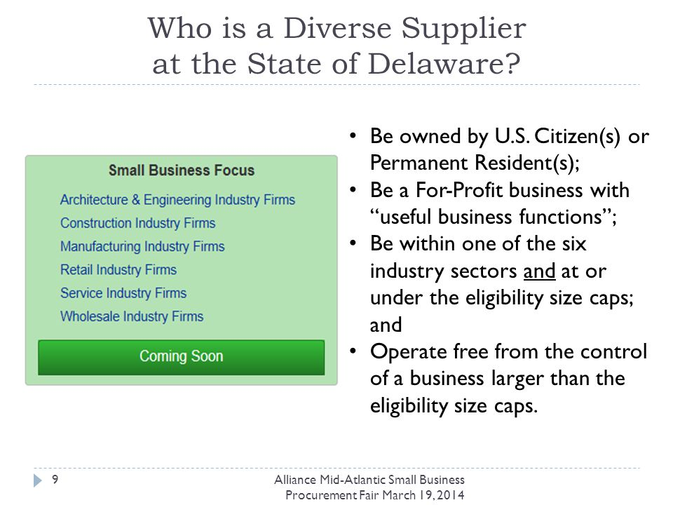 Alliance Mid-Atlantic Small Business Procurement Fair March 19, 2014 20