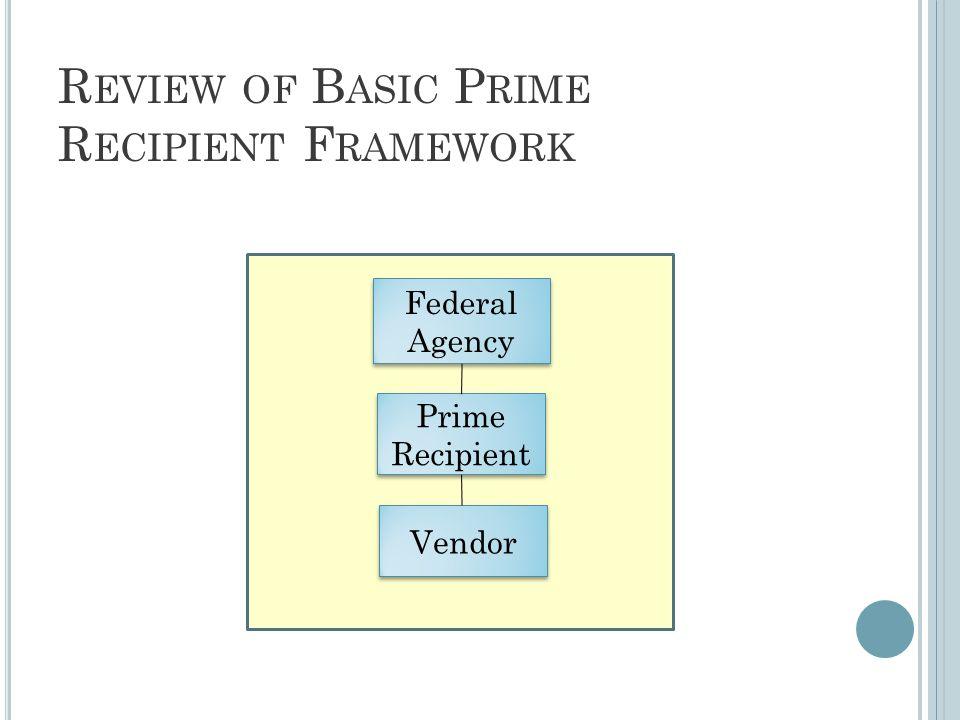 R EVIEW OF B ASIC P RIME R ECIPIENT F RAMEWORK Federal Agency Prime Recipient Vendor