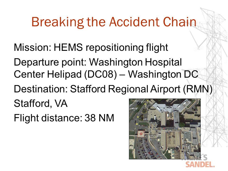 Breaking the Accident Chain Mission: HEMS repositioning flight Departure point: Washington Hospital Center Helipad (DC08) – Washington DC Destination: Stafford Regional Airport (RMN) Stafford, VA Flight distance: 38 NM
