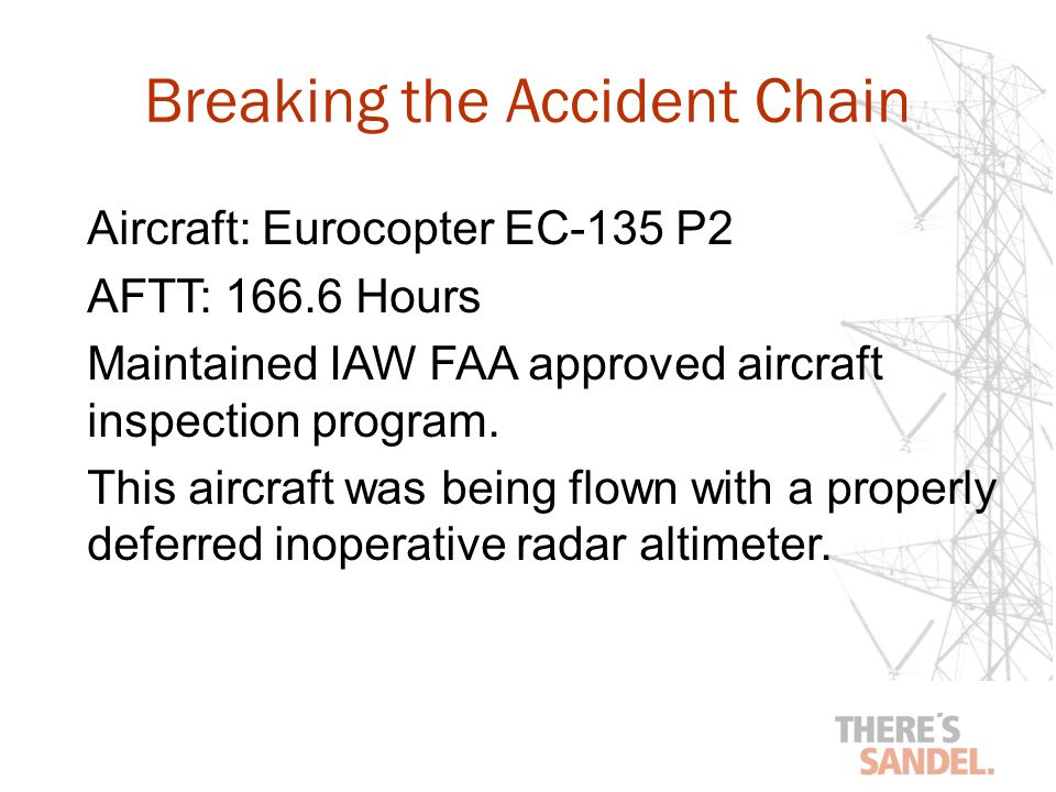 Aircraft: Eurocopter EC-135 P2 AFTT: 166.6 Hours Maintained IAW FAA approved aircraft inspection program.