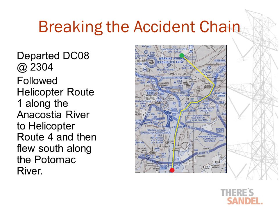Breaking the Accident Chain Departed DC08 @ 2304 Followed Helicopter Route 1 along the Anacostia River to Helicopter Route 4 and then flew south along the Potomac River.