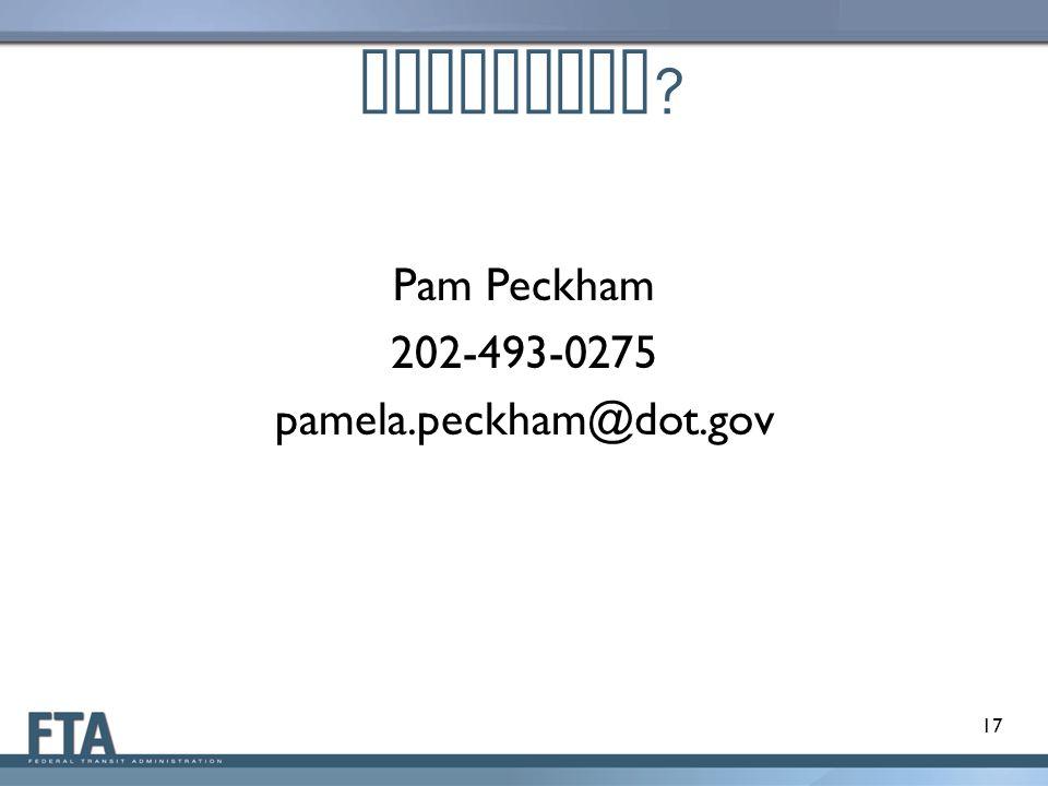 Questions ? Pam Peckham 202-493-0275 pamela.peckham@dot.gov 17