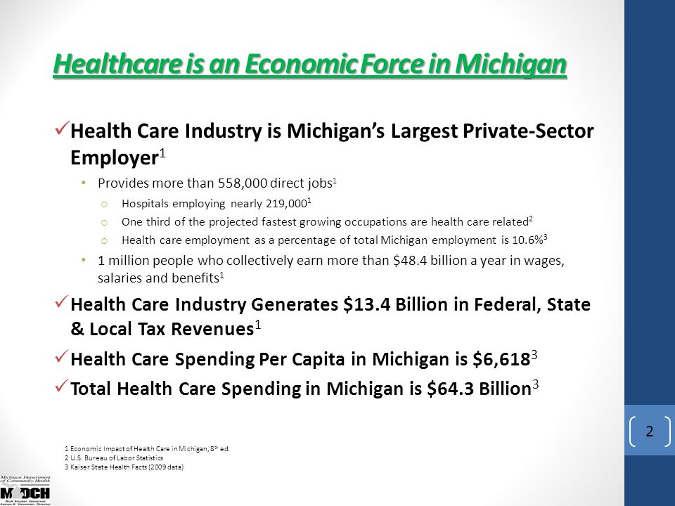 2 Health Care Industry is Michigan's Largest Private-Sector Employer 1 Provides more than 558,000 direct jobs 1 o Hospitals employing nearly 219,000 1