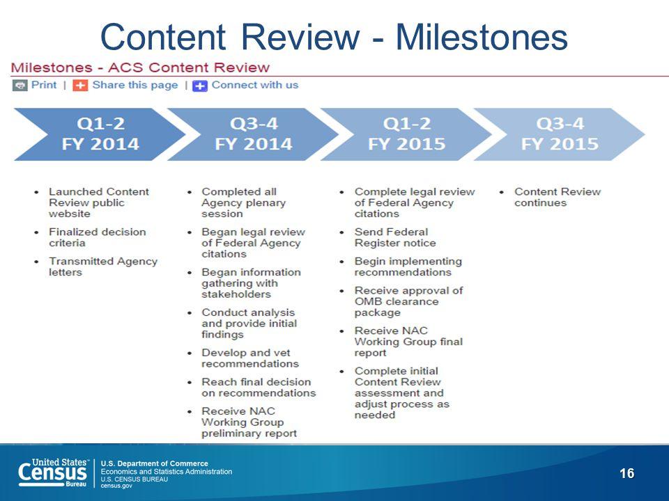 16 Content Review - Milestones