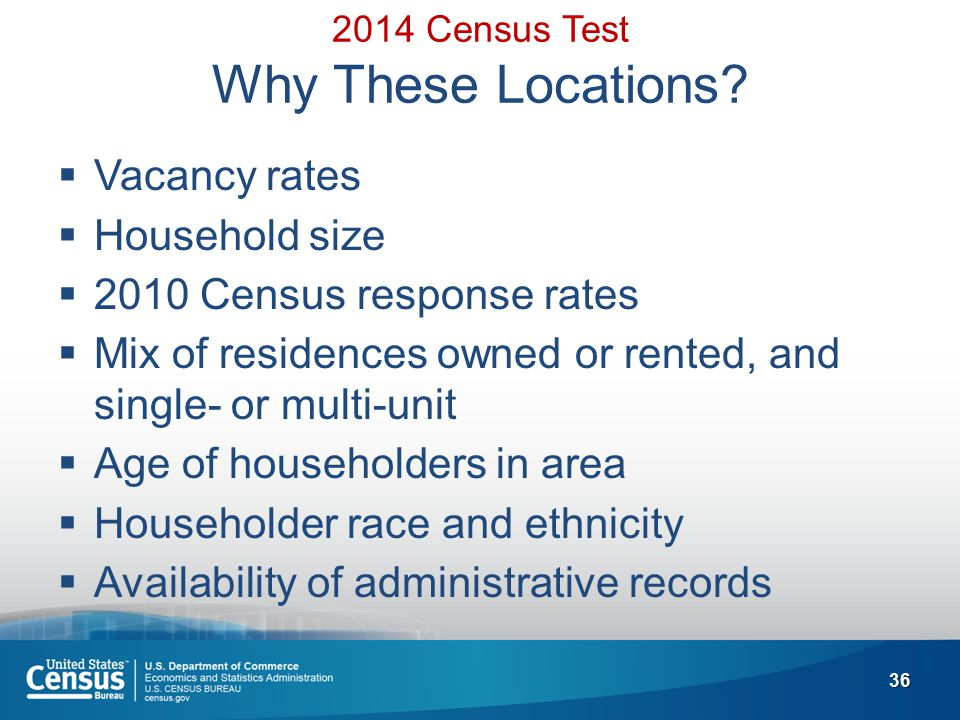 36 2014 Census Test Why These Locations.