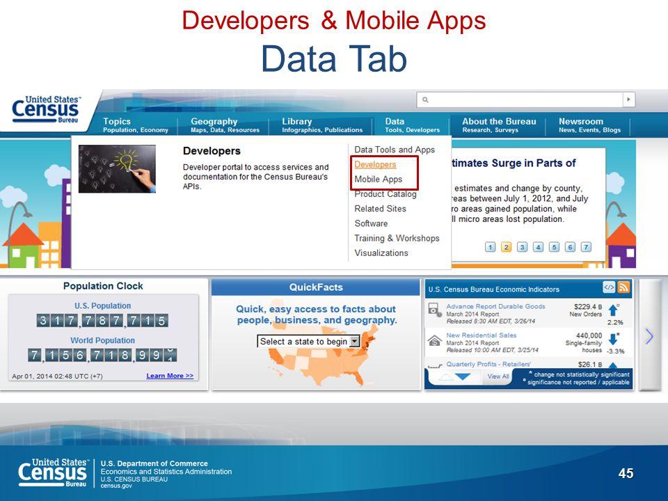 45 Developers & Mobile Apps Data Tab