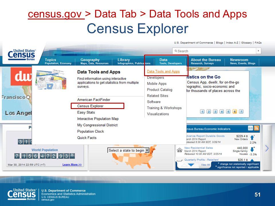 51 census.gov > Data Tab > Data Tools and Apps Census Explorer